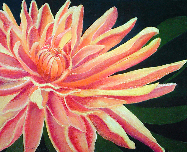 Orange Flower Painting - Fire Mum by Lucinda  Hansen