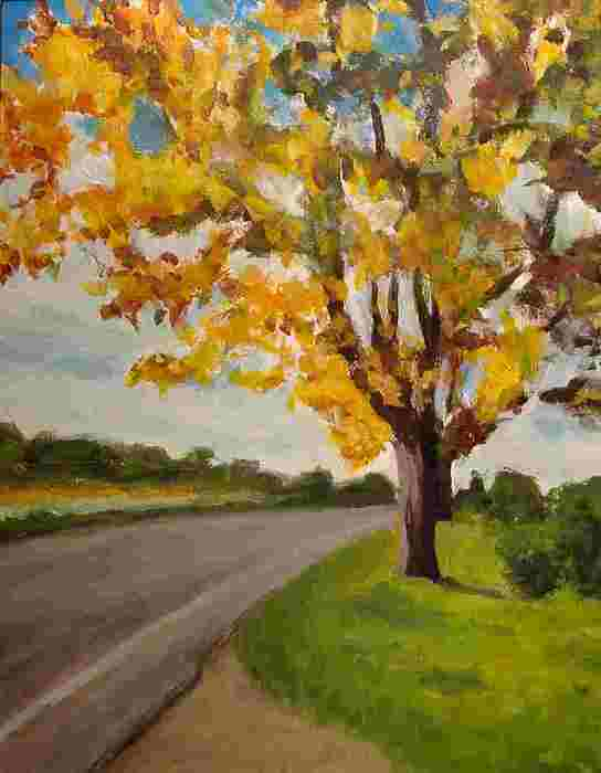 Landscape Painting - Fire Tree by David Truesdell