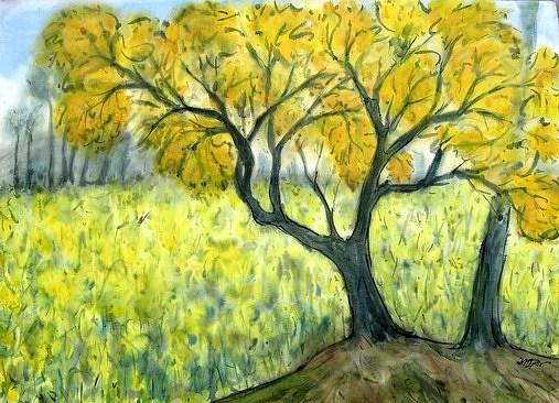 Landscape Painting - Fire Tree by Sadek Ali
