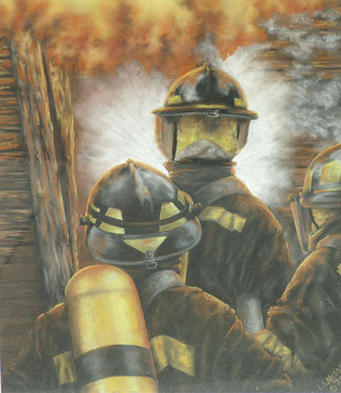 Firefighter Painting - Firefighters by Linda  Medders-Jackson