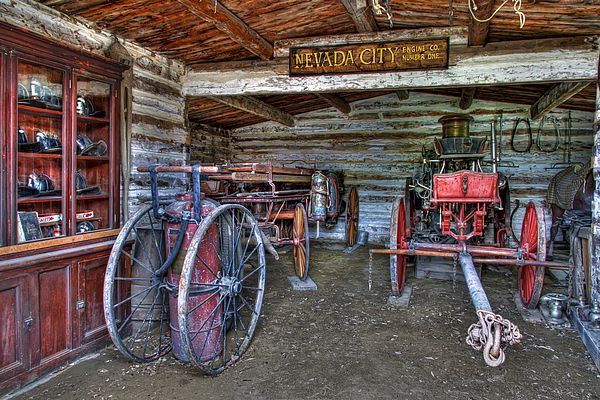 Fire Photograph - Firefighting Engine Company No. 1 - Nevada City Montana Ghost Town by Daniel Hagerman