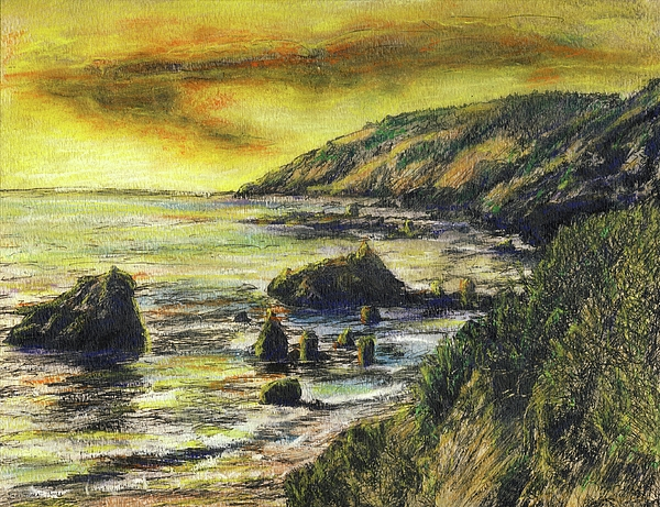 California Mixed Media - Fires Over Big Sur by Randy Sprout