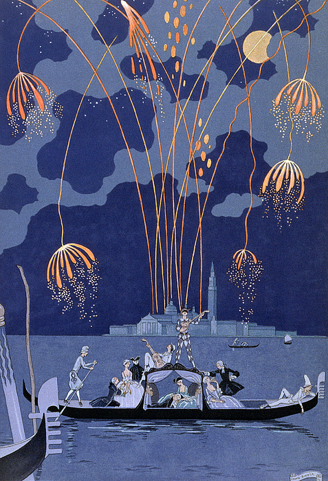 Firework Display Painting - Fireworks In Venice by Georges Barbier
