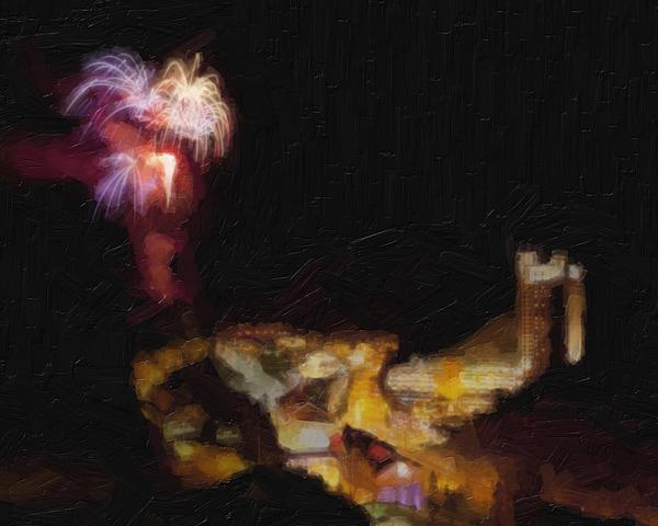 Fireworks Painting - Fireworks Over Blackhawk Colorado by David Renner