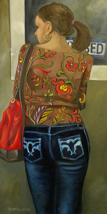 Woman Painting - First In Line by Bertica Garcia-Dubus