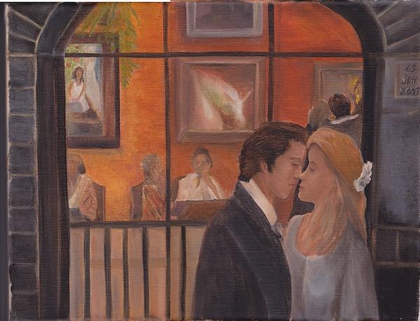 First Kiss Painting by Karen Stitt