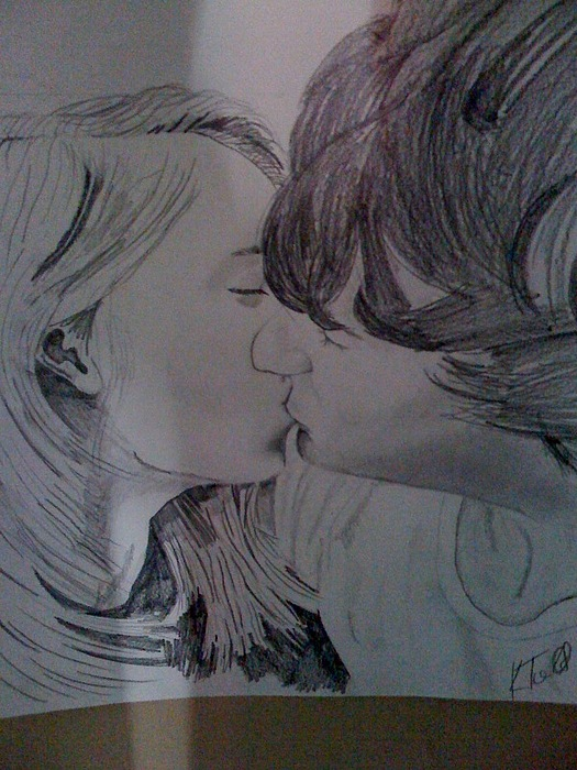 First Kiss Drawing by Kevin Todd