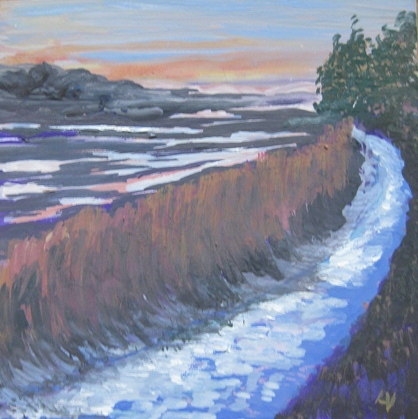 New Harbor Painting - First Light At Newharbor by Lynne Vokatis