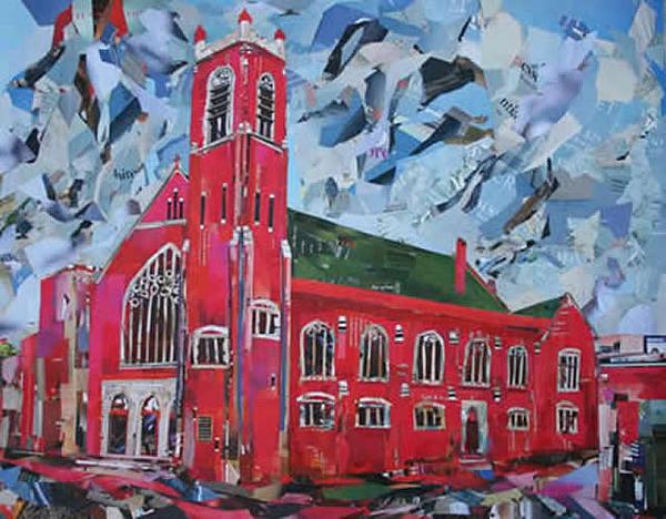 Church Mixed Media - First Metropolitan United Church Victoria Bc Corner Of Quadra And Balmoral  by Viet Tran