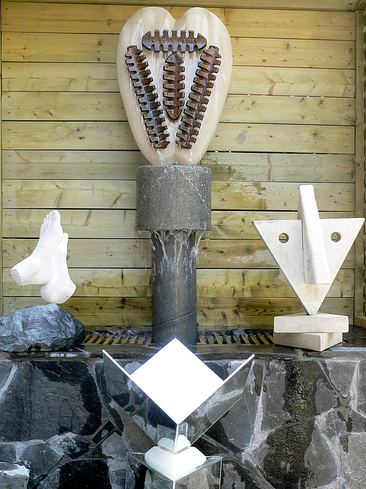 Yoga Sculpture - First Second Fourth Seventh Chakras by Frank Pasquill