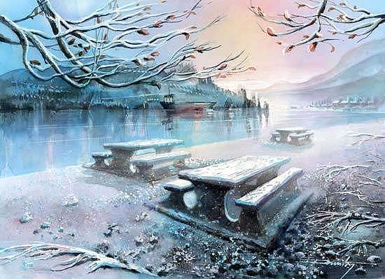 Original Watercolor Painting - First Snow by Dumitru Barliga