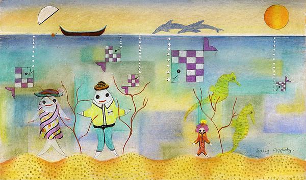 Fantasy Mixed Media - Fish Family by Sally Appleby