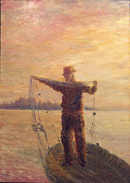 Man At Work Painting - Fisherman by Alexander Bukhanov