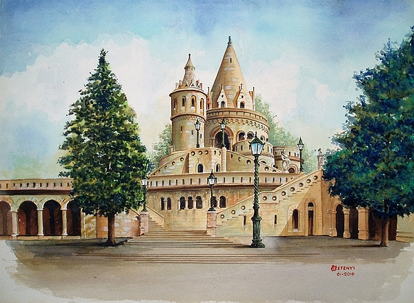 Budapest Painting - Fisherman Castle by Charles Hetenyi