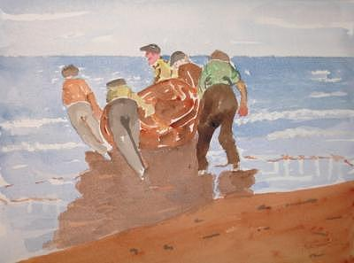 Sea Boat Painting - Fishermen by Roger Cummiskey