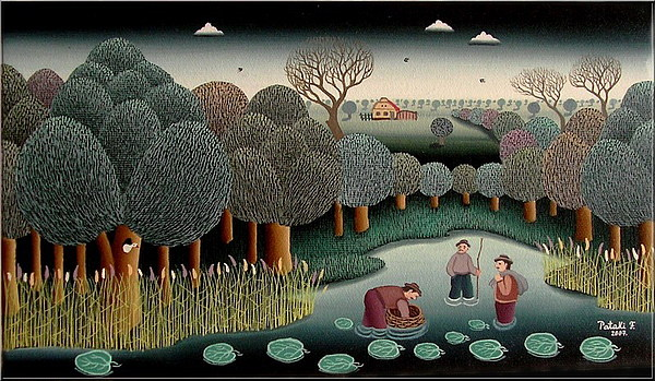 Naive Painting - Fishery by Ferenc Pataki