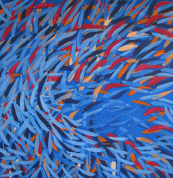 Fishes Painting - Fishes 2 by Sirpa Mononen