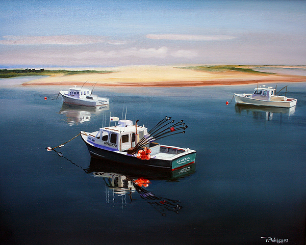 Fishing Boats Painting - Fishing Boats-cape Cod by Paul Walsh