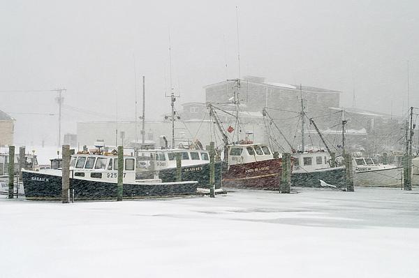 Winter Photograph - Fishing Boats During Winter Storm Sandwich Cape Cod by Matt Suess
