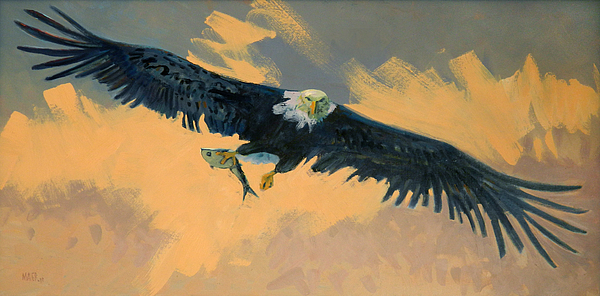 Bald Eagle Painting - Fishing Eagle by Donald Maier