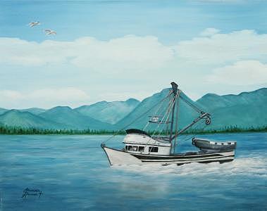Alaska Painting - Fishing In Alaska by Elizabeth Hannah