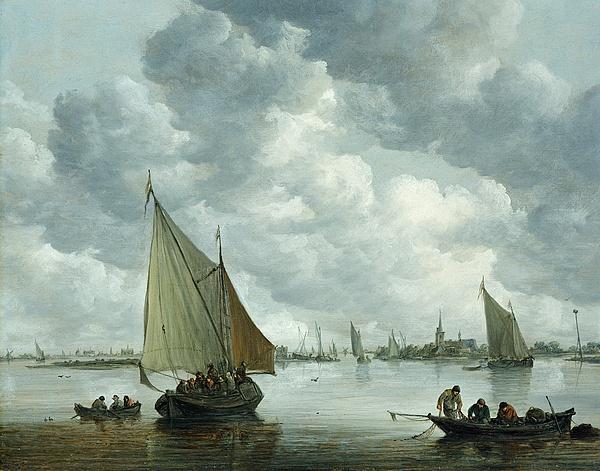 Estuary Painting - Fishingboat In An Estuary by Jan Josephsz van Goyen