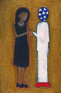 Michelle Obama Painting - Fist Pumping First Lady He Seeing Stars by Ricky Sencion