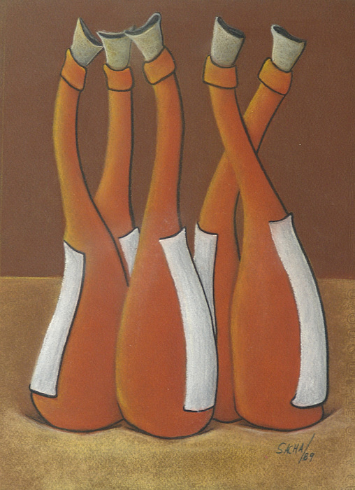 Sacha Circulism Pastel - Five Bottles 1989 by S A C H A -  Circulism Technique