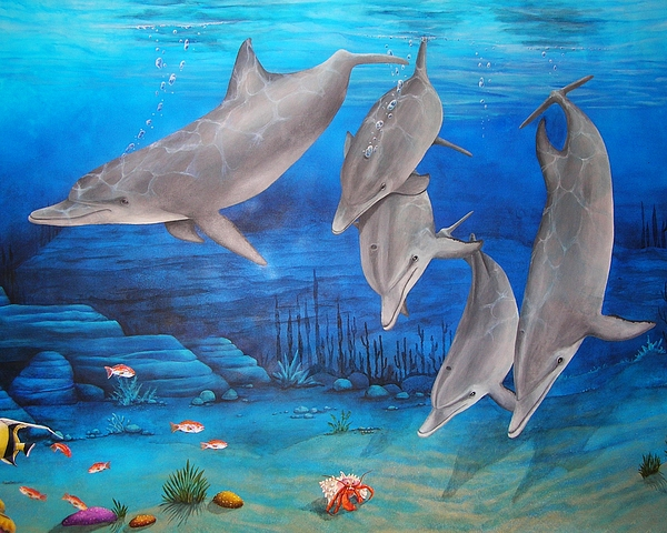 Dolphin Painting - Five Friends by Cindy D Chinn
