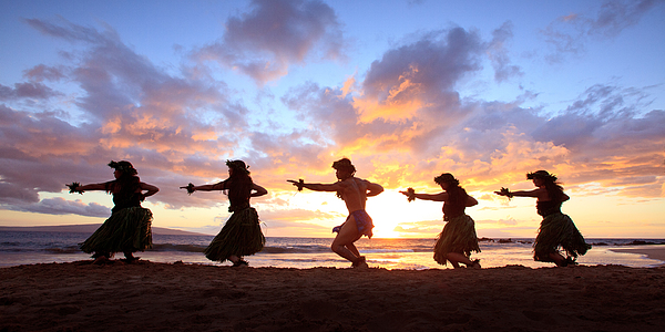 Hawaii Photograph - Five Hula Dancers At Sunset by David Olsen