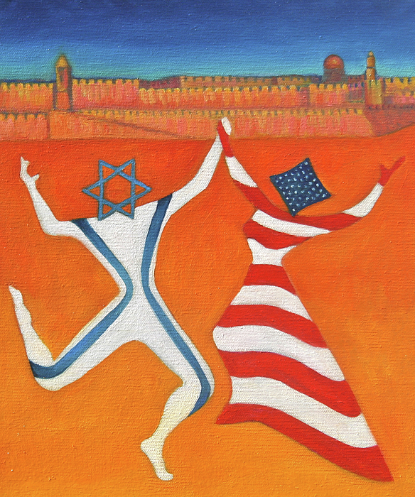 Judaica Painting - Flags Dancing With Israeli Man And American Woman       by Jane  Simonson