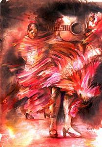 Figurative Painting - Flamenco Passion by Tina Siddiqui
