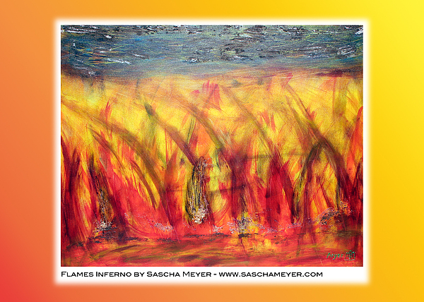 Flames Painting - Flames Inferno On A Nice Background - Postcard by Sascha Meyer