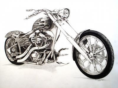 chopper drawing flames by richard klingbeil
