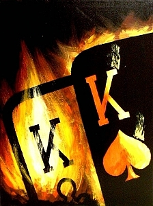 Fiery Painting - Flaming Pocket Kings Poker Art Decor Original Painting by Teo Alfonso