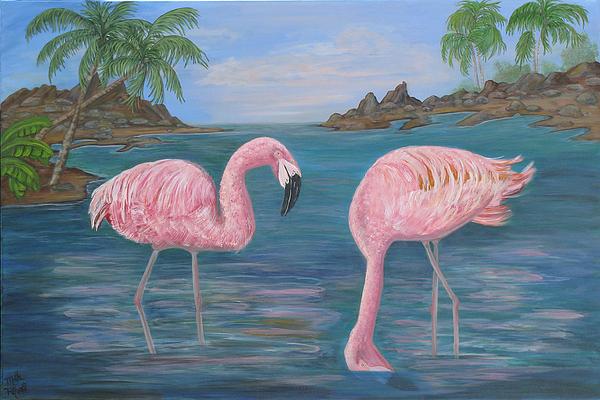 Flamingo Painting - Flamingo Cove by Mikki Alhart