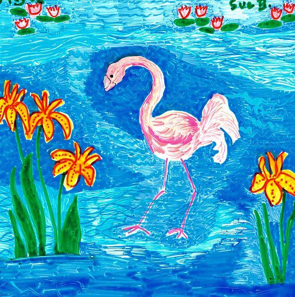Sue Burgess Painting - Flamingo by Sushila Burgess