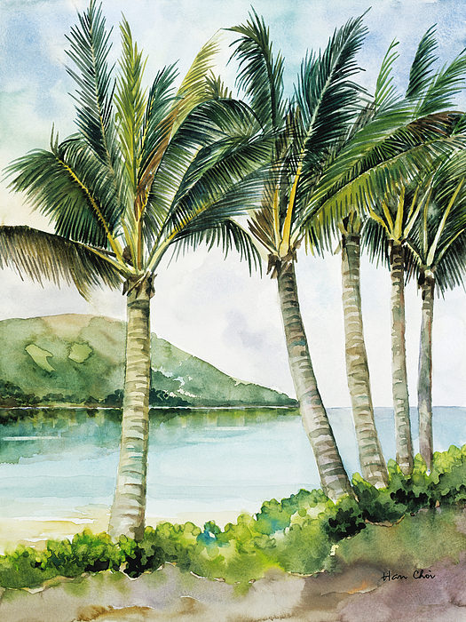 Flapping palm trees painting by han choi printscapes for Painting palm trees