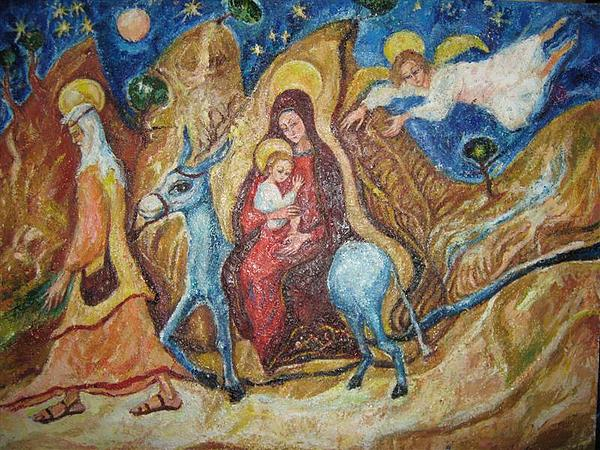 Little Jesus Painting - Flight Into Egypt by Natalia Slovinskaya