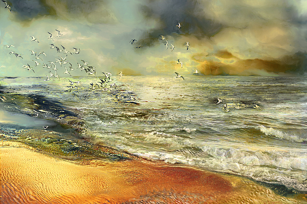Seagull Painting - Flight Of The Seagulls by Anne Weirich