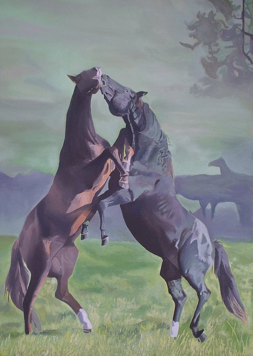 Horse Painting - Flight Or Fight by Bennie Parker