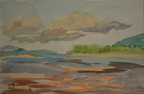 Maine Painting - Floating Clouds by Francine Frank