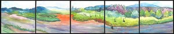 Geese Painting - Floating Down The Chama River by Jane E Chandler