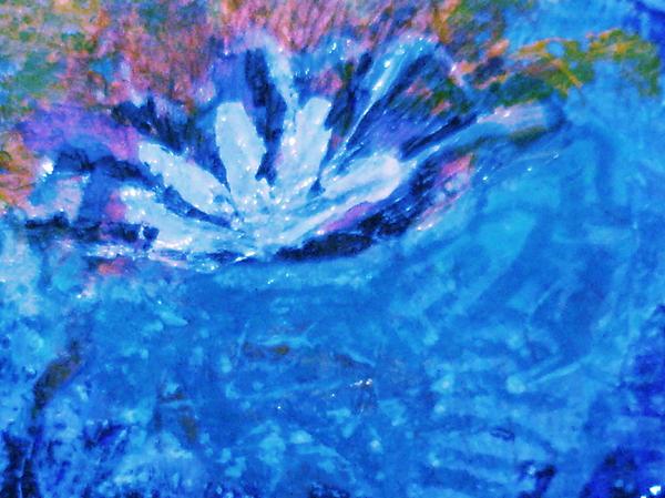 Blue Painting - Floating Flower by Anne-Elizabeth Whiteway