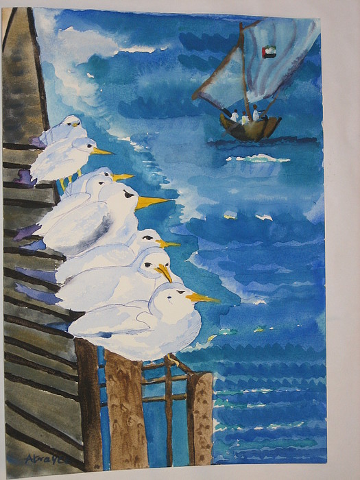 Seagulls Painting - Flock Of Seagulls Relxing On The Abra by Atrayee Chattopadhyay