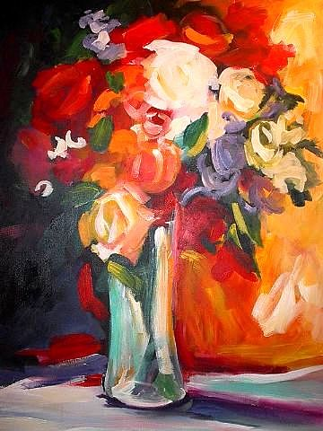 Floral Still Life Painting - Floral Burst by Heather Roddy