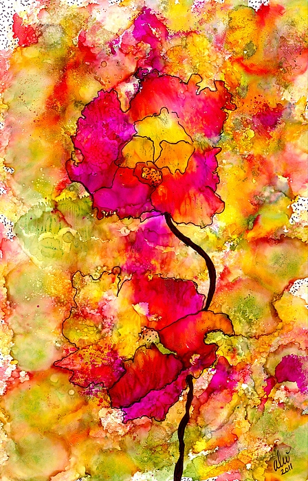 Abstract Painting - Floral Duet by Angela L Walker
