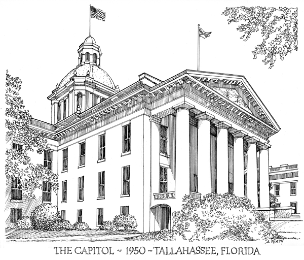 Tallahassee Drawing - Florida Capitol 1950 by Audrey Peaty