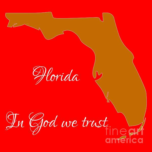 Florida Digital Art - Florida Map In State Colors Orange Red And White With State Motto In God We Trust  by Rose Santuci-Sofranko