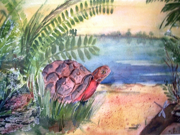 Turtle Painting - Florida Seacoast by Audrey Bunchkowski